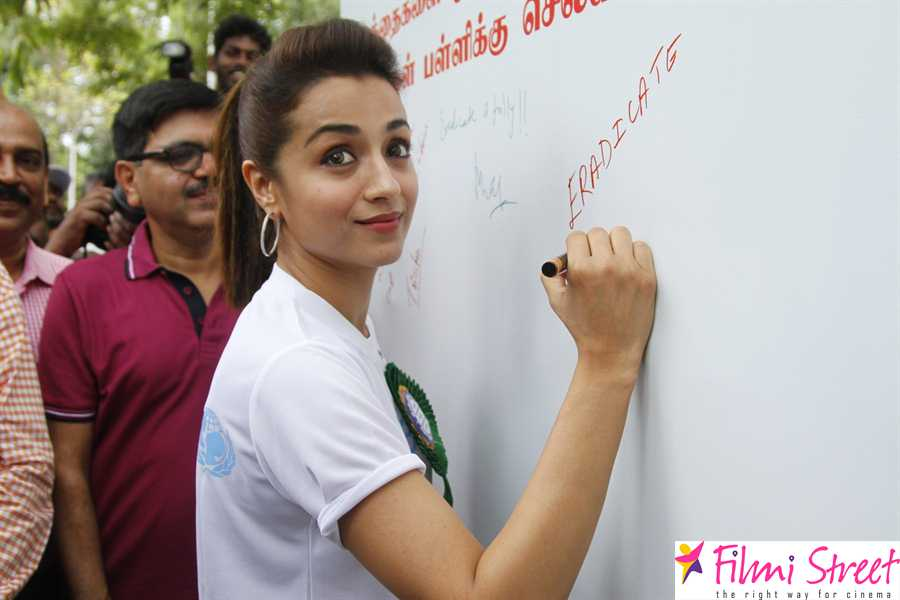Trisha At Rally Campain World Day Against Child Labour