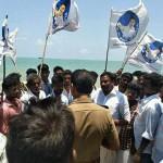 Vijay fans protest in nagapattinam